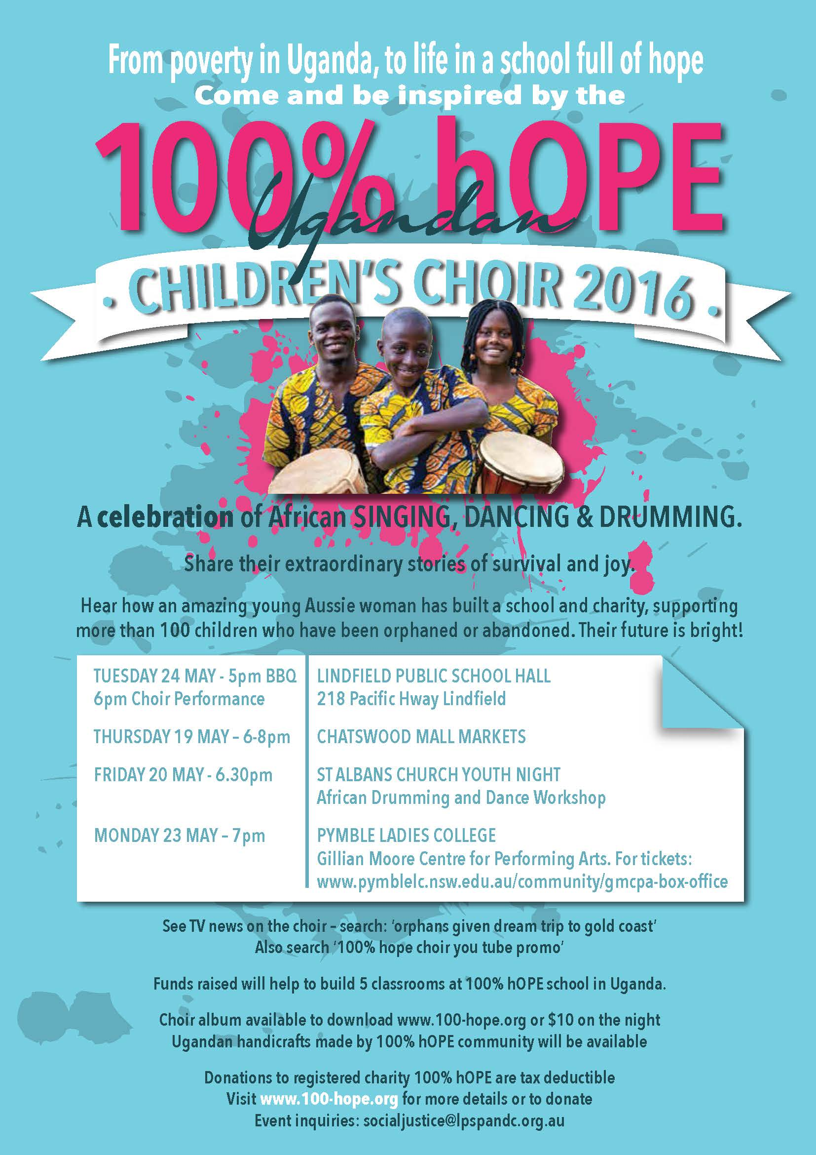 100% hOPE Choir visit flyer May 17