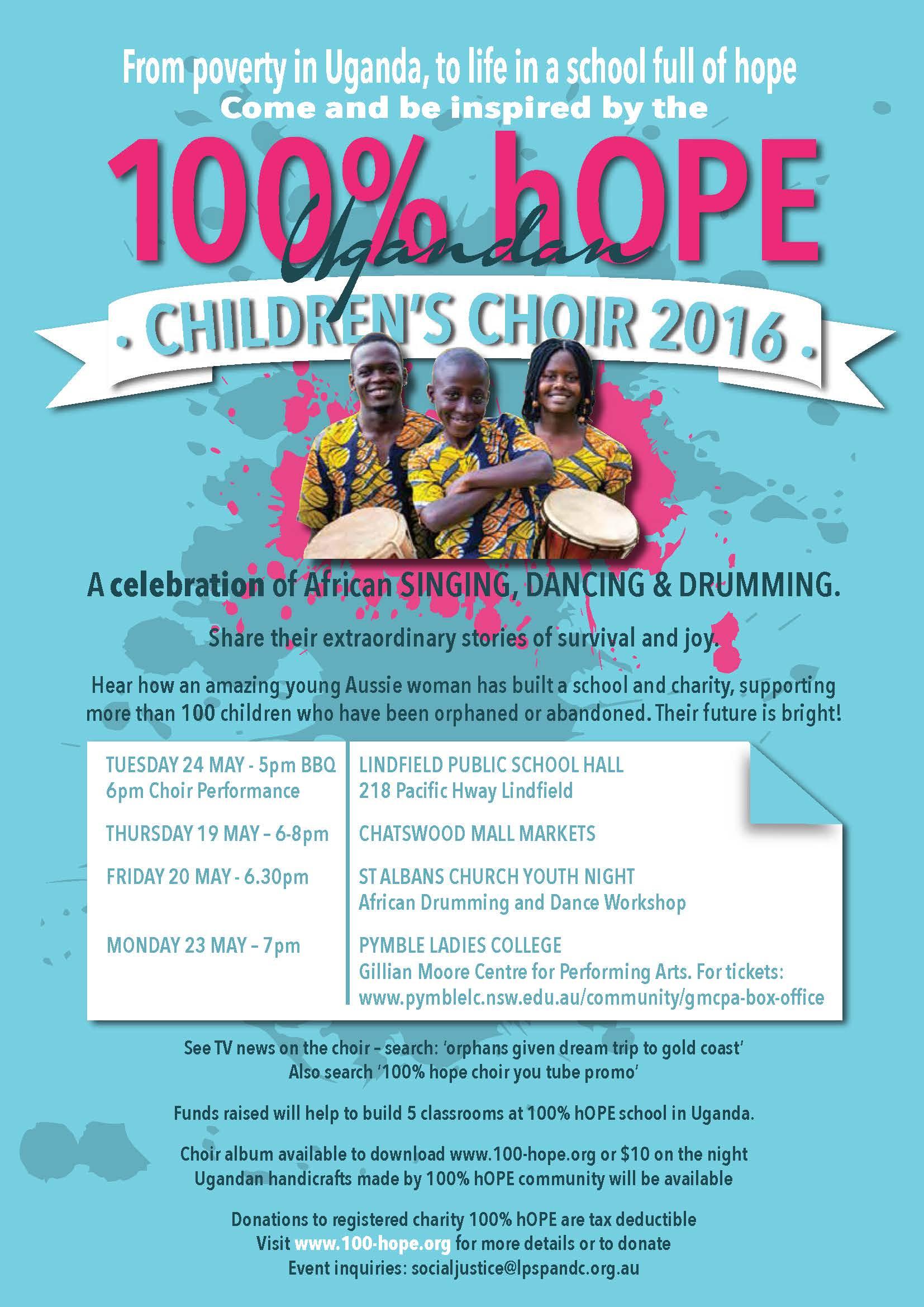 100% hOPE Choir visit flyer May 17